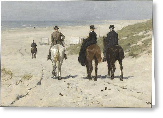 Morning Ride Along The Beach Greeting Card