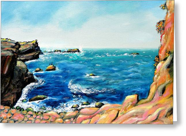Greeting Card featuring the painting Morning Sea With Birds On Rocks by Asha Carolyn Young
