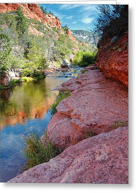 Morning Sun On Oak Creek - Slide Rock State Park Sedona Arizona Greeting Card by Silvio Ligutti