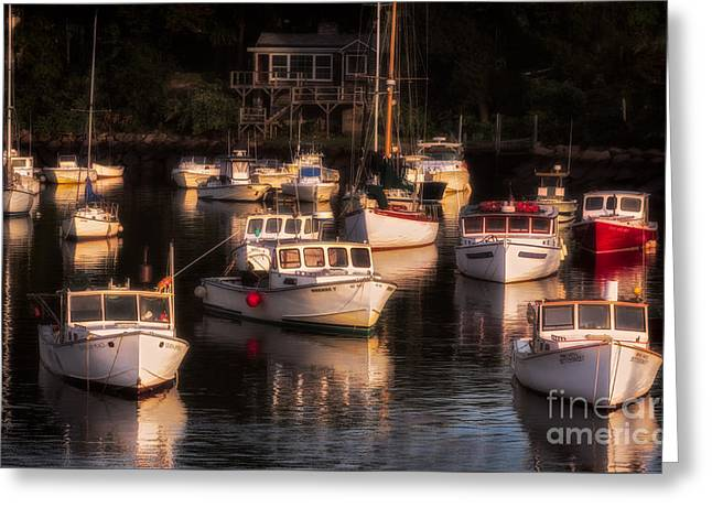 Morning Sun On Perkin's Cove Greeting Card by Jerry Fornarotto