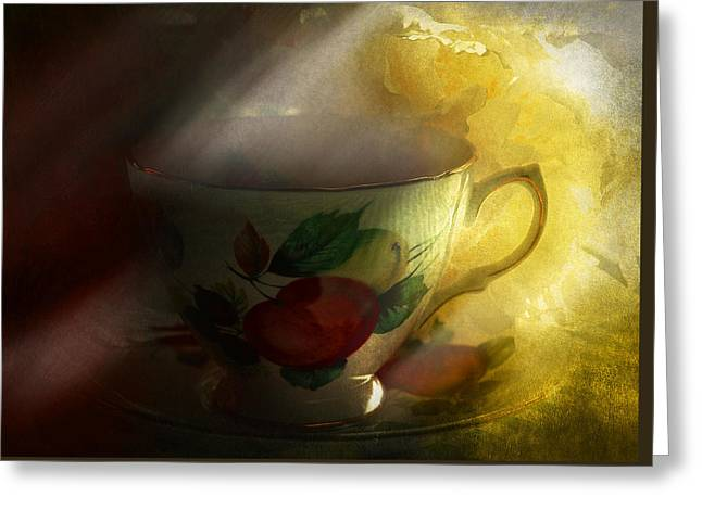 Morning Tea With Peony Greeting Card by Jeff Burgess