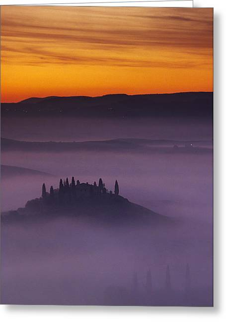 Morning Tuscan Mist Greeting Card by Andrew Soundarajan
