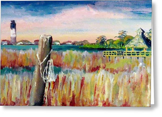 Morning View In South Port Looking At Oak Island Greeting Card by Jim Phillips