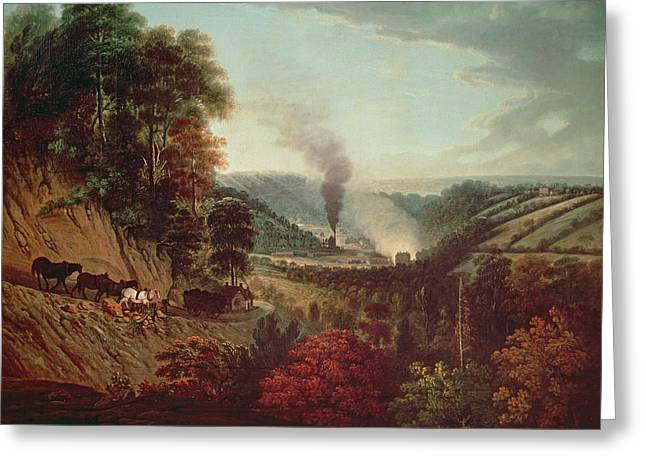 Morning View Of Coalbrookdale, 1777 Oil On Canvas Greeting Card by William Williams