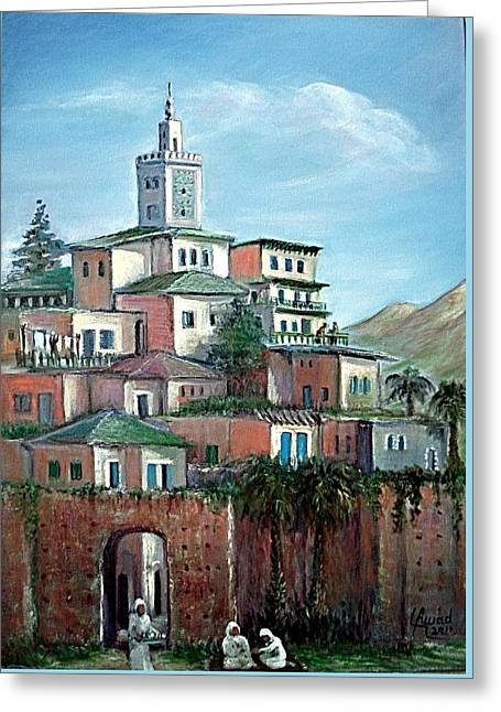 Greeting Card featuring the painting Moroccan Village - Alkasaba by Laila Awad Jamaleldin