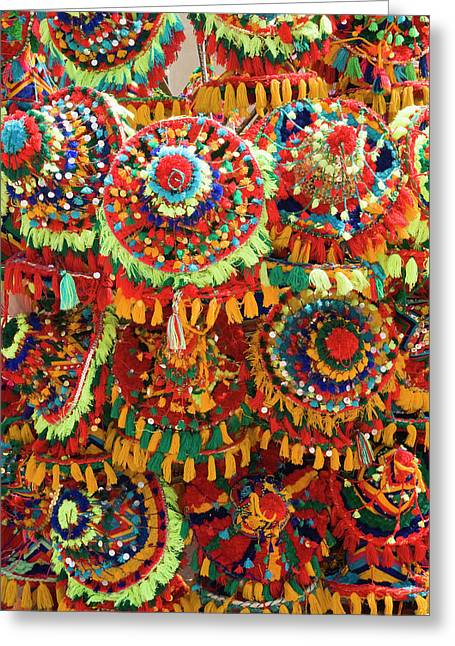 Moroccan Caps For Sale, Souk Greeting Card by Nico Tondini
