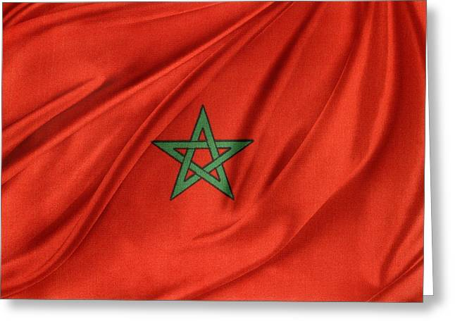 Moroccan Flag Greeting Card by Les Cunliffe