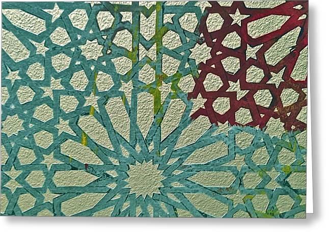Moroccan Tile Design Greeting Card by Karim Baziou