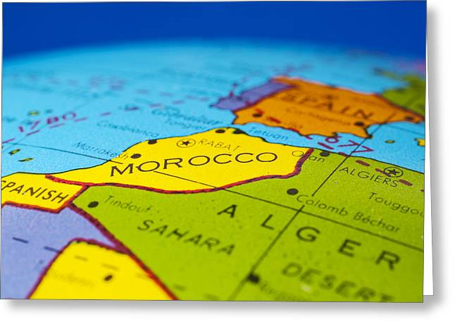 Morocco - Antique  Globe Map Travel Background Greeting Card by Donald  Erickson