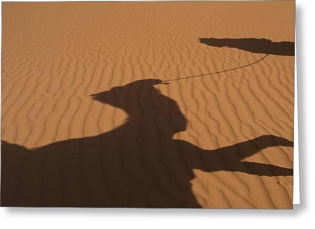 Morocco, Erg Chebbi Area Sahara Desert Greeting Card