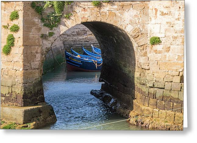 Morocco, Essaouira, Small Boats Tied Greeting Card by Emily Wilson