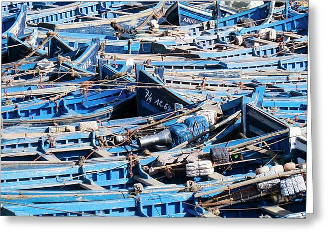 Morocco, Essaouira, Small Skiff Tied Greeting Card by Emily Wilson