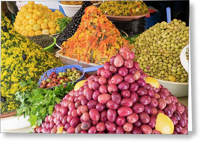 Morocco, Essaouira, Souk, Varieties Greeting Card by Emily Wilson