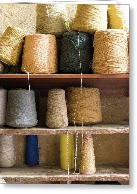 Morocco, Fes Medina, Spools Of Weaving Greeting Card by Emily Wilson