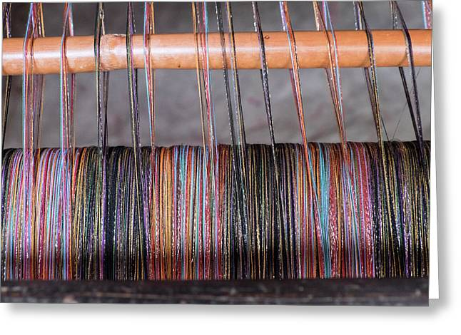 Morocco, Fes Medina, Weaving In The Old Greeting Card by Emily Wilson