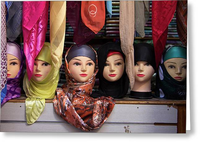 Morocco, Fes Moroccan Head Scarves Greeting Card by Kymri Wilt