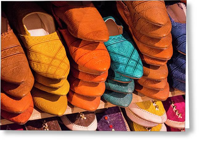 Morocco Fez Colorful Arab Shoes Greeting Card