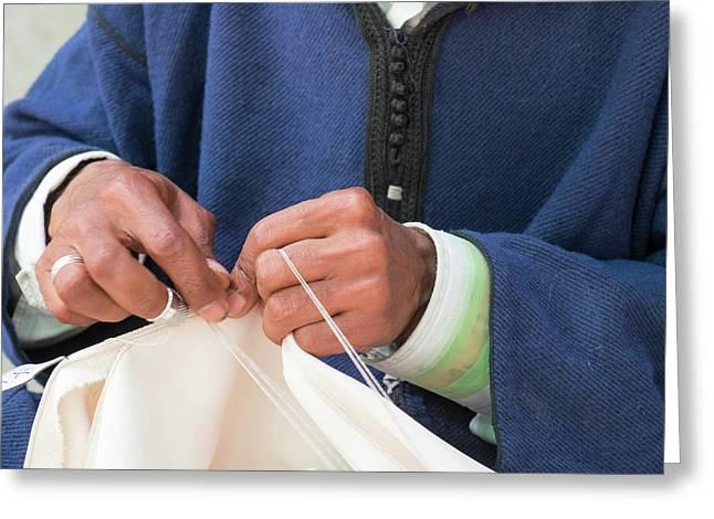 Morocco, Fez, Medina Craftsmen Sewing Greeting Card