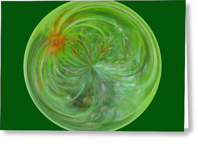 Morphed Art Globe 5 Greeting Card by Rhonda Barrett