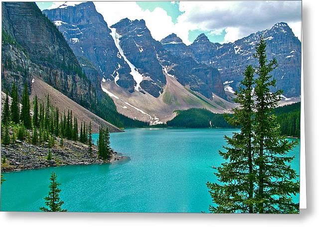 Morraine Lake In Banff Np-alberta Greeting Card