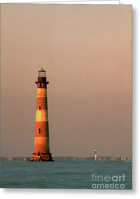 Morris Island  And Sulivan Island Lighthouses  Greeting Card by John Harmon