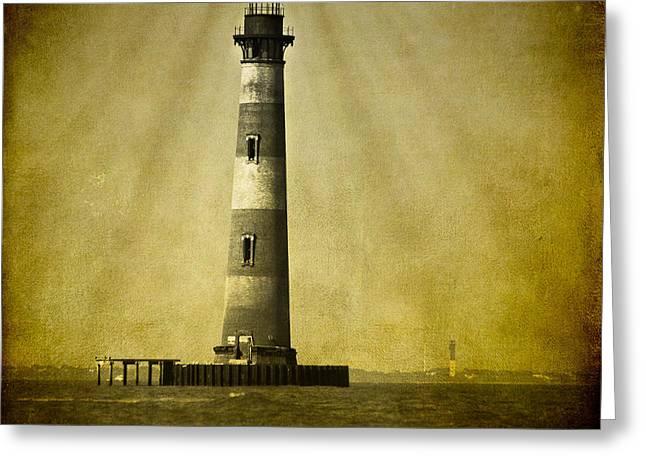 Morris Island Light Bw Vintage Greeting Card