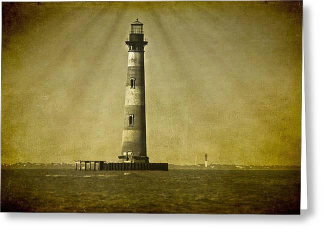 Morris Island Light Vintage Bw Uncropped Greeting Card