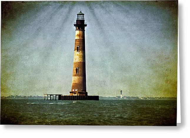 Morris Island Light Vintage Color Uncropped Greeting Card