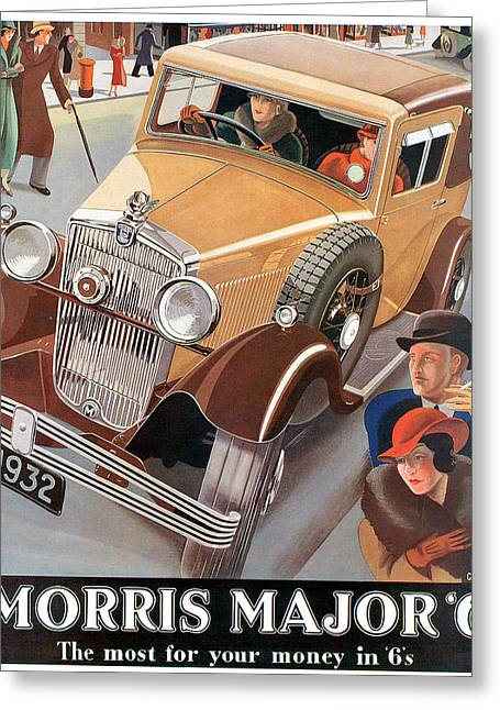 Morris Major 6 - Vintage Car Poster Greeting Card by World Art Prints And Designs