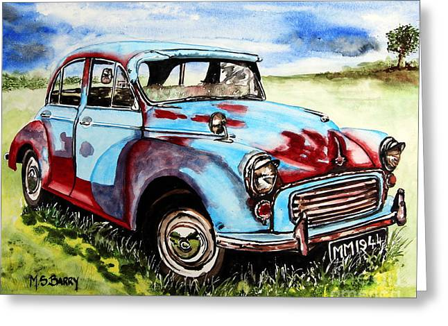 Morris Minor Greeting Card by Maria Barry