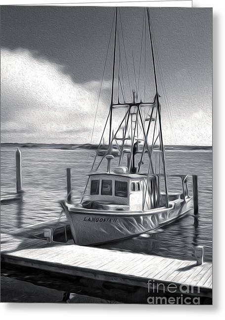 Morro Bay Fishing Boat In Duo-tone Greeting Card by Gregory Dyer
