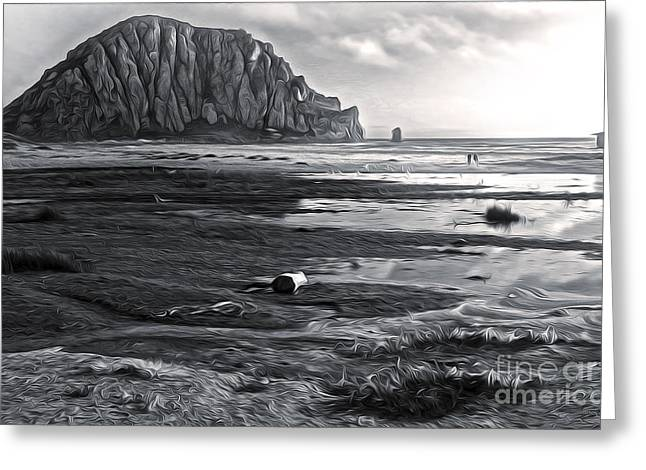 Morro Bay - Morro Rock - Desaturated Greeting Card by Gregory Dyer