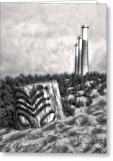 Morro Bay Tiki Head In Duotone Greeting Card by Gregory Dyer