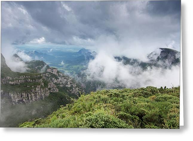 Morro Da Igreja Rocks In The Clouds Greeting Card by Alex Saberi