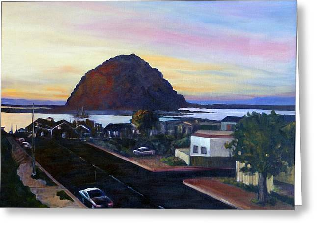 Morro Rock At Night Greeting Card