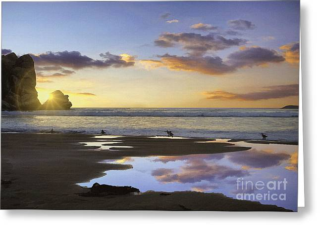 Morro Rock Reflection Greeting Card