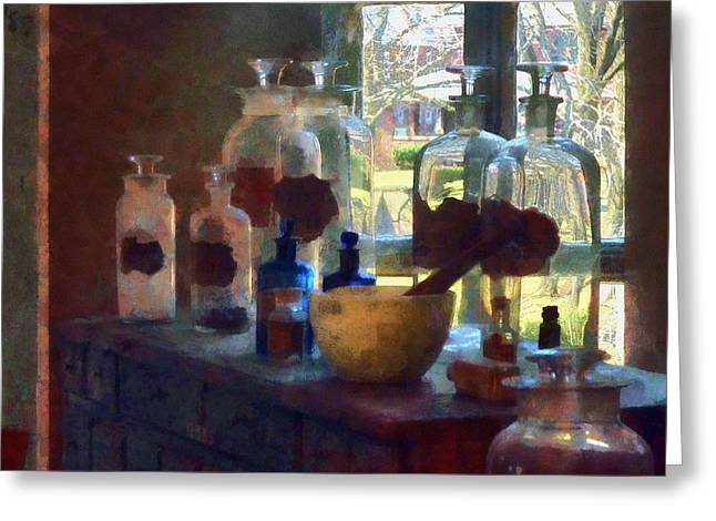 Mortar And Pestle And Bottles By Window Greeting Card by Susan Savad