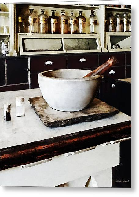 Mortar And Pestle In Apothecary Greeting Card by Susan Savad