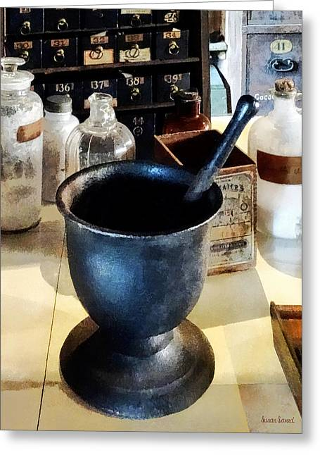 Mortar And Pestle Near Medicine Bottles Greeting Card by Susan Savad