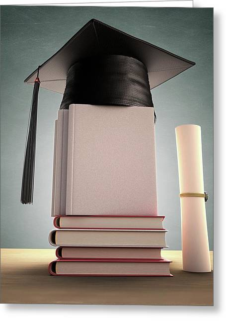Mortar Board On A Stack Of Books Greeting Card by Ktsdesign
