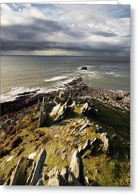 Morte Point In North Devon Greeting Card by Pete Hemington