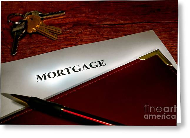 Mortgage Documents Greeting Card by Olivier Le Queinec