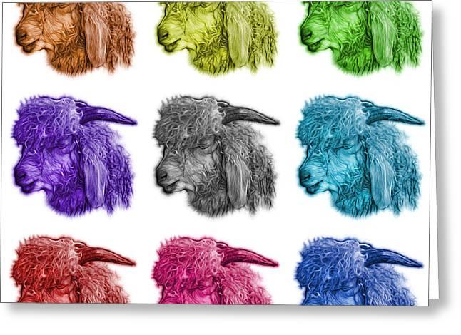 Mosaic Angora Goat - 0073 F - M - Wb Greeting Card