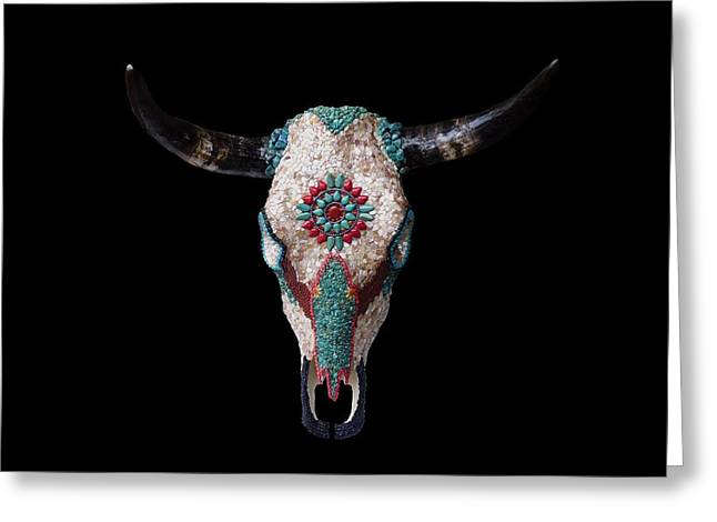 Mosaic Cow Skull Greeting Card by Katherine Sutcliffe