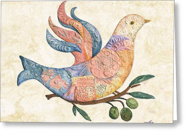 Mosaic Dove Greeting Card by Michoel Muchnik
