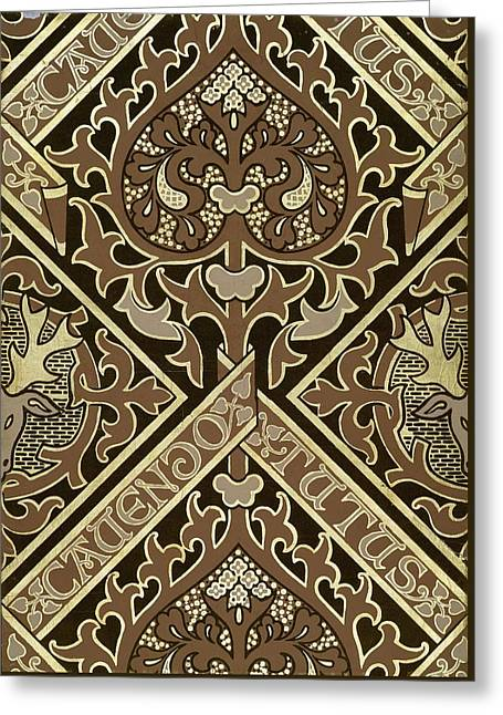 Mosaic Ecclesiastical Wallpaper Design Greeting Card by Augustus Welby Pugin