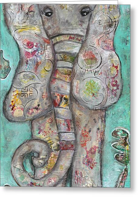 Mosaic Elephant Greeting Card by Kirsten Reed