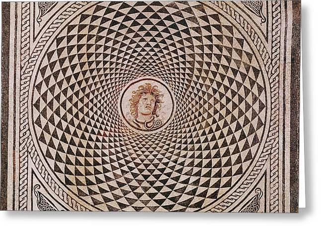 Mosaic Floor With  Head Of Medusa Unknown Rome Greeting Card by Litz Collection