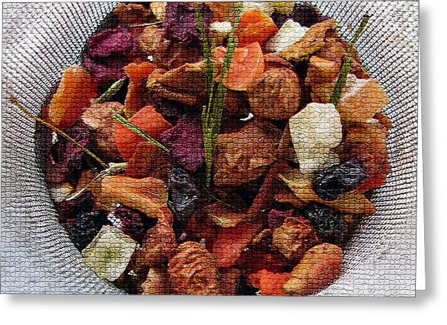 Mosaic Fruity Tea With Bamboo Leaves Square  Greeting Card