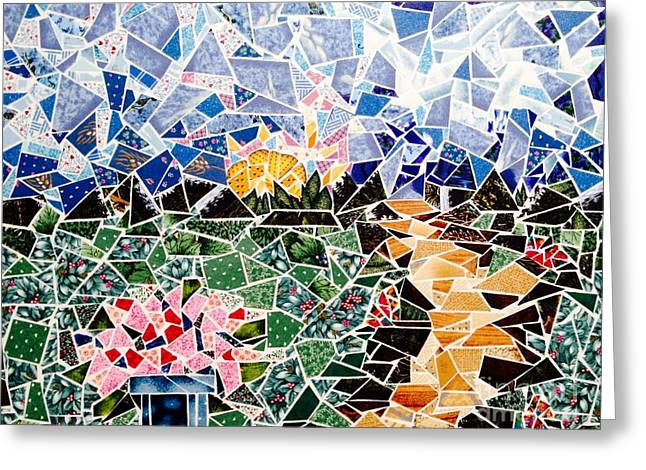 Mosaic Garden Path Greeting Card by Dani Abbott